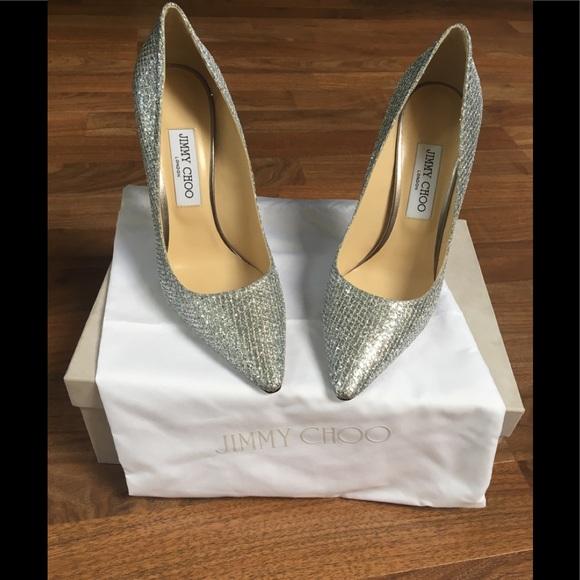 4f272686b3e ... sweden jimmy choo romy silver glitter fabric pump e3f50 99122